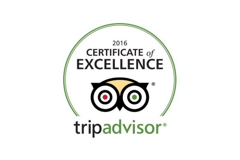 TripAdvisor Certificate Of Excellence Award 2016